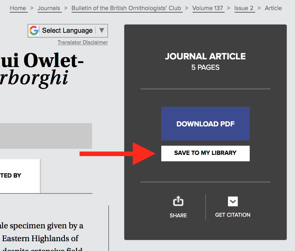 "A screenshot of the black sidebar on an article's page, with a red arrow pointing to the ""Save To Library"" button."