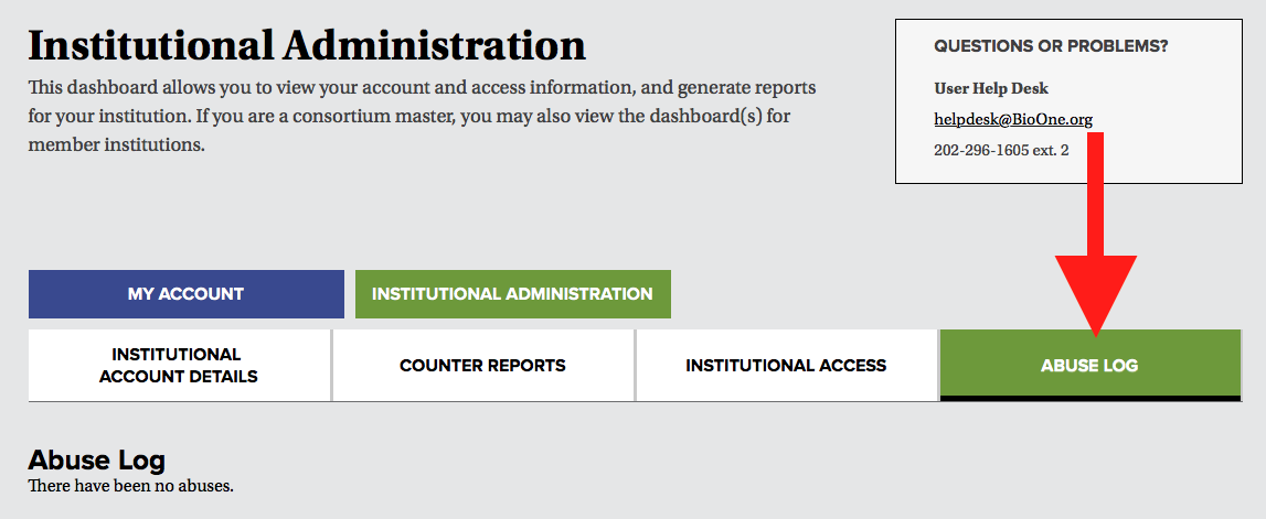 A screenshot of the institutional administration dashboard's navigational tabs. A red arrow points to the tab labeled Abuse Log.