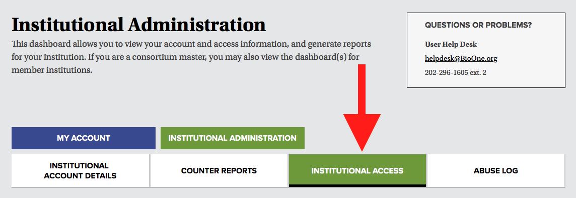 A screenshot of the navigation tabs in the institutional administrator dashboard, with a red arrow pointing to the tab labeled Institutional Access.