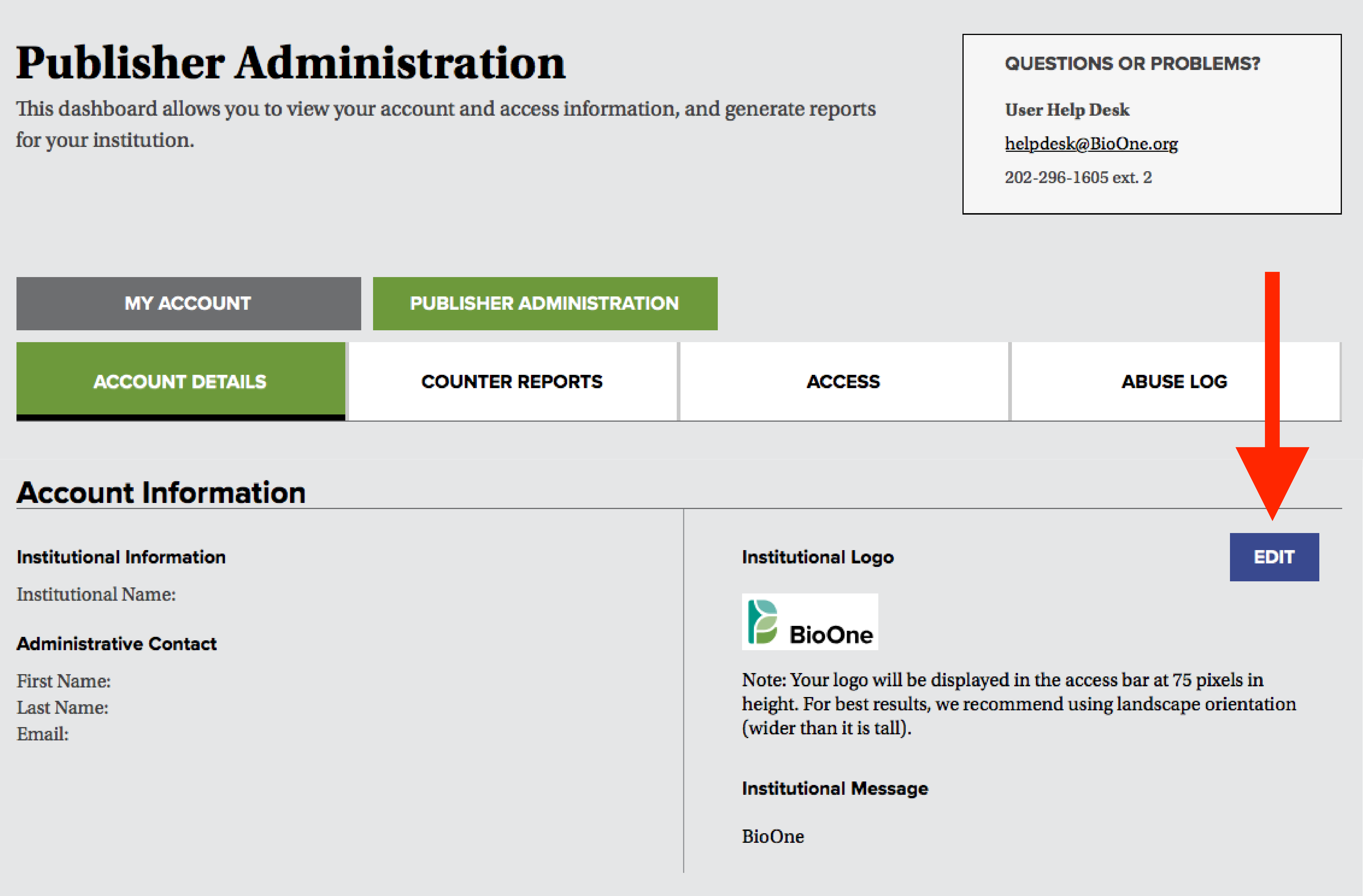 "A screenshot of the Account Details tab in the Publisher Administration dashboard, with a red arrow pointing to the ""Edit"" button in the ""Institutional Logo"" section."