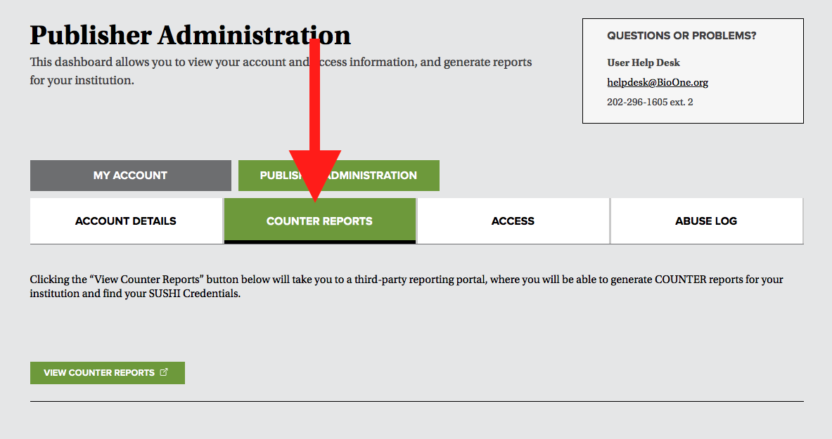"A screenshot of the Publisher Administration Dashboard. A red arrow points to the navigational tab labeled ""COUNTER Reports."""